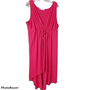 Maurices fuschia high low cotton sleeveless dress